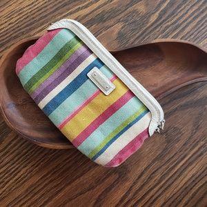 Relic multi colored striped clutch